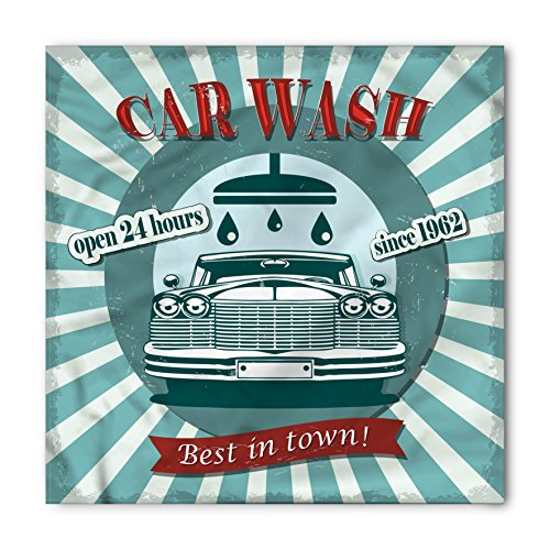 Ambesonne Retro Bandana, Car Wash Sign Commercial, Unisex Head and Neck Tie