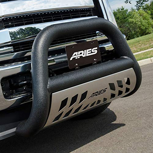 ARIES AL45-9004 Big Horn 4-Inch Black Aluminum Bull Bar, Select Nissan Titan XD