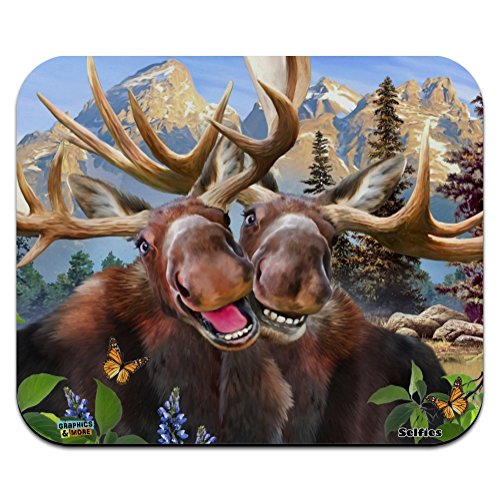 Moose Selfie Low Profile Thin Mouse Pad Mousepad