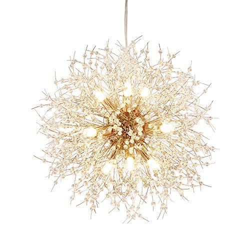 Qamra Modern Gold Crystal Chandeliers , 9-Lights Firework Dandelion Sputnik Chandelier Light Fixture LED Pendant Lighting for Dining Room,Bedroom,Kitchen,Living Room…