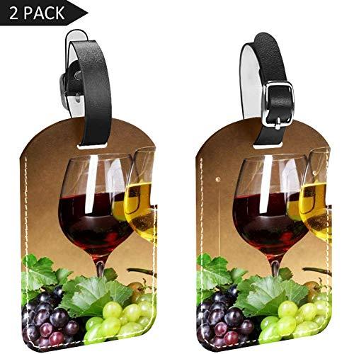 LORVIES Druiven Wijn en Champagne Bagage Labels Reizen Label Naam Kaarthouder voor Bagage Koffer Tas Rugzakken, 2 PCS