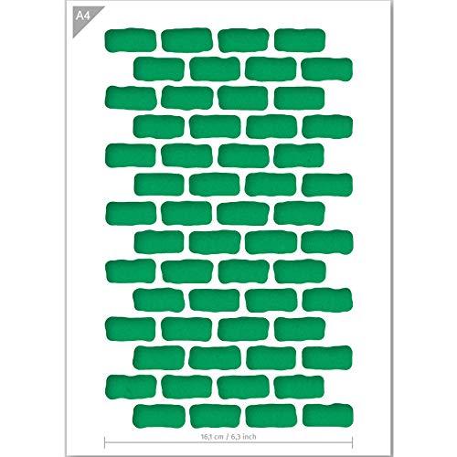 QBIX Ziegel Schablone - Ziegel Muster - Rechteck Muster - Muster Schablone - A4 Größe - wiederverwendbare Kinder freundlich DIY Schablone zum Malen, Backen, Basteln, Wand, Möbel
