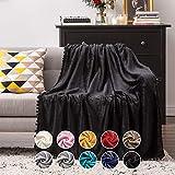 MIULEE Manta Blanket Terciopelo Grande para Sófas Mantilla de Franela para Siesta Súper Suave Manta para Cama Ligera y Cálida Felpa para Mascota Cama Habitacion Dormitorio 1 Pieza 125x150cm Negro