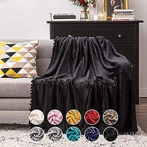 MIULEE Bedding Manta para Sófas de Franela Manta para Cama Sofa Longue Sensación de Terciopelo Grande Súper Suave Soft Largo Blanket Ligera y Cálida Felpa Manta 127x153cm 50x60inch Negro