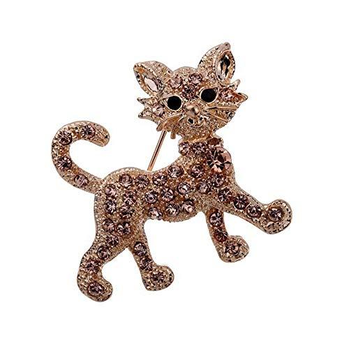 Ju-sheng Broche para Mujer Broche de Gato Broche de Diamantes de imitación Broche con Incrustaciones de Cristal Animal Breastpin Punk Sombrero Suéter Pin joyería (Color : Oro)