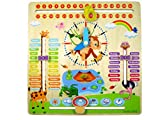 WoodyWood® Kalenderuhr Kinder Lernuhr Holz Lernspielzeug 30X30cm zweisprachig