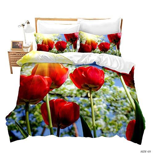 BIANXU Bettwäsche Set Rosenmuster Bettbezug Und Kissenbezug Mehrfarbig Schlafzimmer240*220Cm+2 Pillowcase(50 * 75Cm)