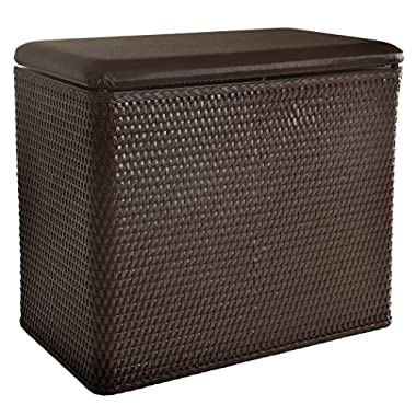 Lamont Home Carter Bench Wicker Laundry Hamper with Coordinating Padded Vinyl Lid, Chocolate