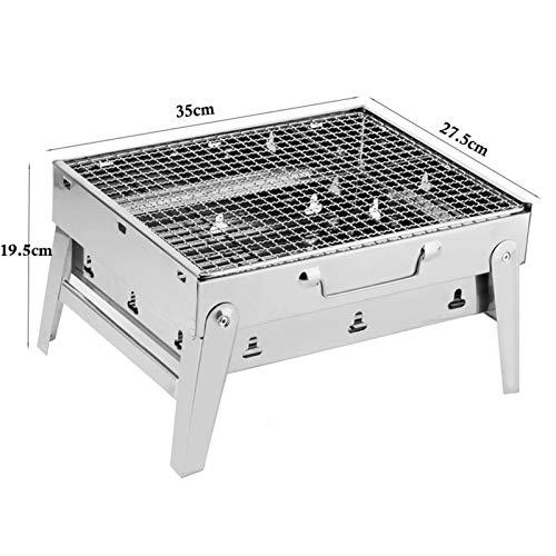 51PlVo cdyL. SL500  - MUBAY Holzkohlegrill BBQ für Picknick im Freien Tragbare Grillgrill Edelstahl BBQ Grill Non-Stick-Oberfläche Falten Grillgrill Grill Zubehör