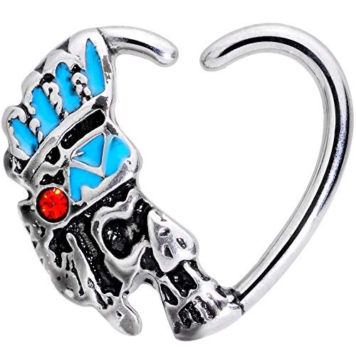 """Body Candy 3/8"""" 16G Steel Red Accent Headdress Warrior Right Heart Closure Ring Daith Helix Tragus Rook 10mm"""