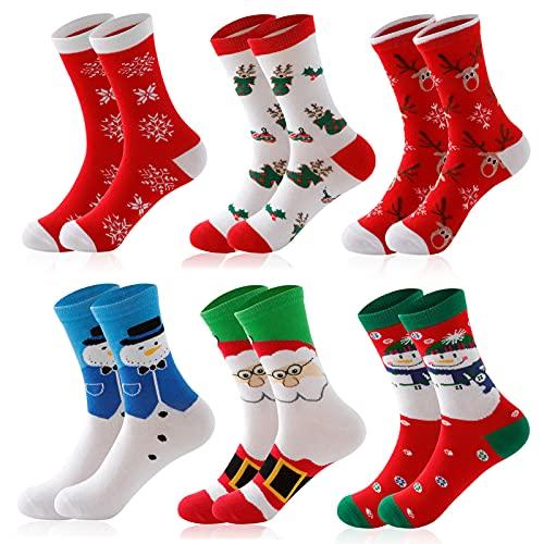 SalLady 6 Paare Weihnachtssocken Damen 39-42 Christmas Socks Lustige Weihnachtsmotiv Mit Motiv Baumwolle Weihnachts Socken Weihnachts Geschenke Geschenkideen Für Frauen Mädchen