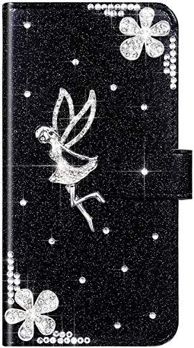 QPOLLY Coque Compatible avec Galaxy Note 10 Pro/Note 10 Plus, 3D Brillante Paillettes Diamant Strass Ange Fleurs Housse Cuir PU Flip Etui à Rabat Fermeture Magnétique Portefeuille Stand Case,Noir
