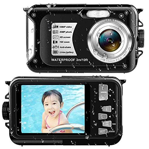 デジカメ防水 防水カメラ (2021新型)フルHD 1080P30.0MP 2.7インチスクリーン16倍デジタルズーム 水下3m防水 最大128GBのSDカード対応 日本語取扱説明書付き 子供や初心者など最適ギフト(ブラック)
