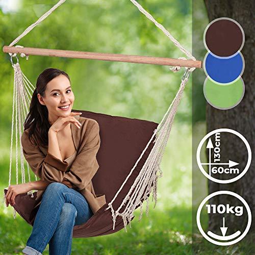 Jago Hängesessel mit Holz-Querstrebe - für Kinder und Erwachsene, Outdoor/Indoor, Farbwahl - Tragbare Gartenschaukel, Hängeschaukel, Hängestuhl, Hängesitz