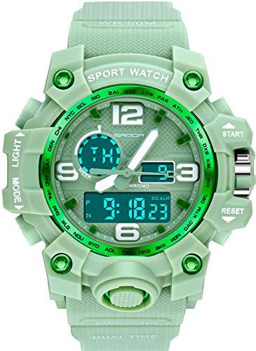 Damen Bunte Armbanduhr Digitale Sportuhr Militärische Outdoor LED Uhren Elektronische Stoppuhr Alarm Grün Weiß Rot Rosa