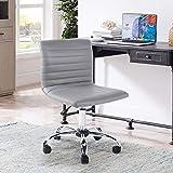HOMYCASA - Silla de escritorio con respaldo medio giratorio, sin reposabrazos, acanalada, para oficina en casa, color gris