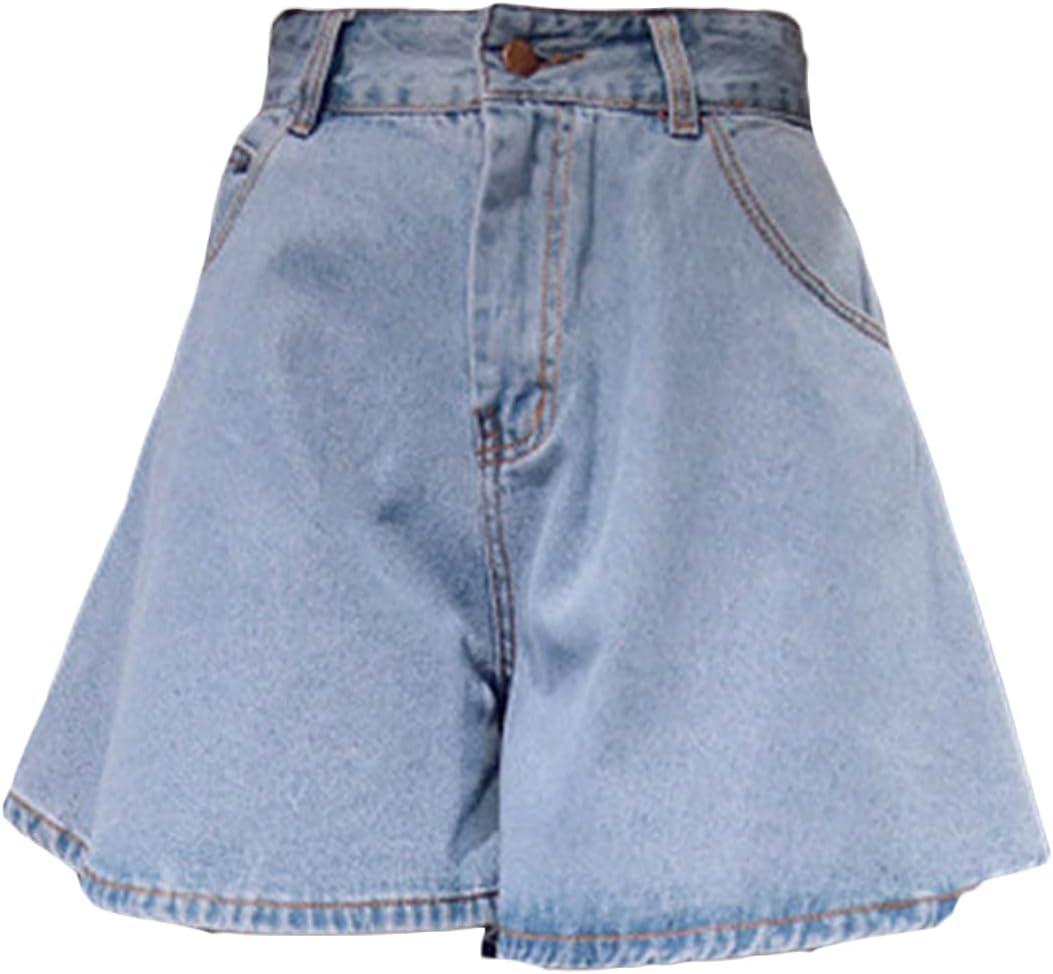 Women's Wide-Leg Denim Shorts High Rise Strech Vintage Short Jeans A-Line Loose Casual Summer Mini Jean Skir Shorts (Light Blue,Large)