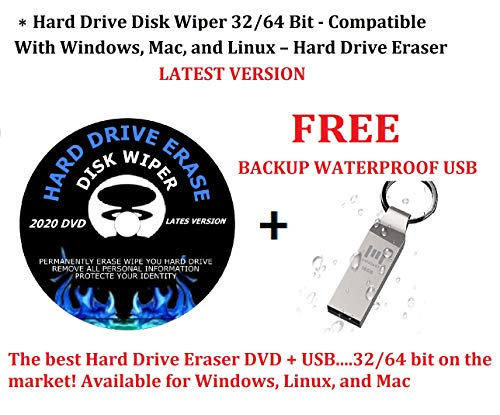DVD/USB Hard Drive Disk Wiper 32/64 Bit - Compatible With Windows, Mac, and Linux – Hard Drive...