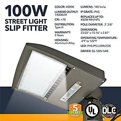 LED DLC Street Lighting - Outdoor LED Street Lights, Commercial or Residential Area Pathway Security Lights - 5 Year Warranty