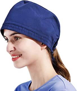 PRETYZOOM Doctor Nurse Cap Solid Color Lace Up Strap Surgery Hat Sweat Absorption Hospital Staff Working Head Cover Cap fo...