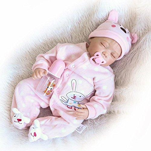 iCradle Muñecas 22 Pulgadas Realista Reborn Baby Dolls Ojos Cerrados Durmiendo Bebé Niña Silicona Suave Vinilo simulación Bebe Dolls Niño Juguete Regalos