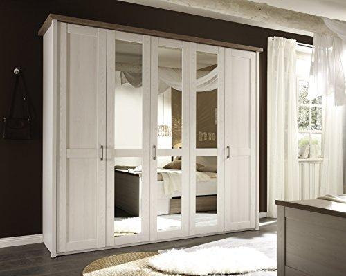 AVANTI TRENDSTORE - Luca - Armadio con ante a battente in laminato di colore pino bianco. Ante centrali specchiate. Dimensioni: LAP 235x213x61cm (241 la parte soprastante)