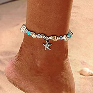Luxcastle Starfish Anklet Braclets Conch Sea Anklet Beaded Ankle Foot Jewelry Women Girls Summer Anklet