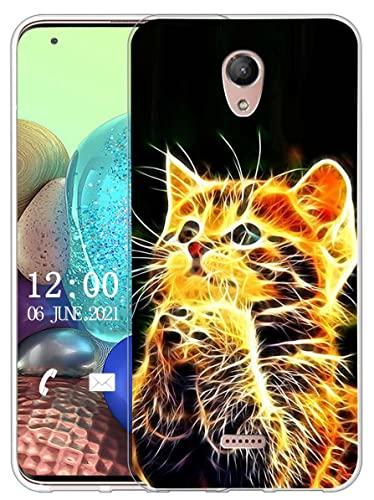 Sunrive Kompatibel mit Wiko U Feel Fab Hülle Silikon, Transparent Handyhülle Schutzhülle Etui Hülle (X Katze)+Gratis Universal Eingabestift MEHRWEG