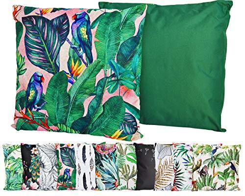JACK Outdoor Lounge Kissen 45x45cm Motiv Dekokissen Wasserfest Sitzkissen Garten Stuhl, Farbe:Tropisch