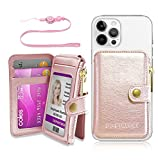 M-Plateau 2021 New Phone Card Holder with Zipper Coin Purse,Phone Wallet with Cell Phone Lanyard , for mosrt of Smart Cell Phones (Rose Pink)