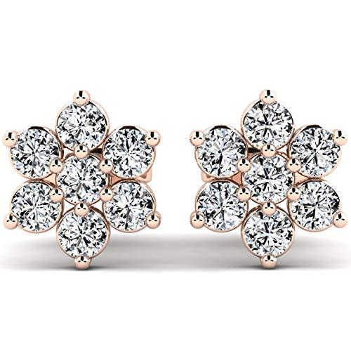 Stilvolle Ohrringe Shonda aus 9K 375 Rotgold - 14 Zirkonia Steine mit 1,5mm Durchmesser - Ohrstecker mit Blumenform für Damen - Swarovski Steine - Gold Ohrringe als Geschenk - inklusive Etui