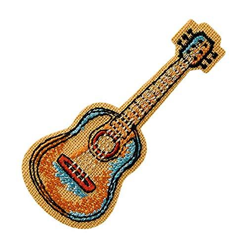Mono Quick 0606x Vintage Musik Instrumente Bügelbilder, Gitarre, Noten, Jazz Hut, Piano Aufnäher (06067 Gitarre Vintage)
