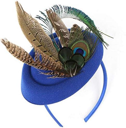 Taille unique Coucoland Fascinator Chapeau pour femme avec plume de paon des ann/ées 1920