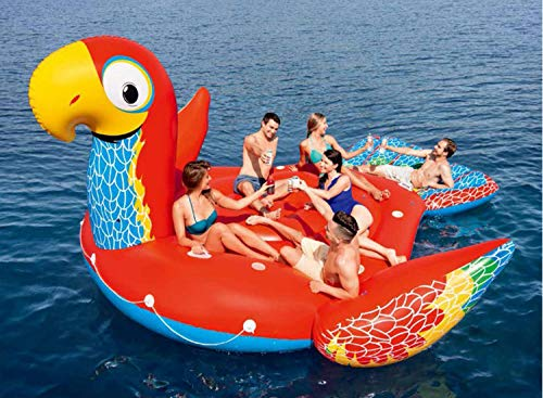 YIZHIYA Flotante Inflable,500×327CM Hamaca Flotante Grande de la Isla Flotante del Loro...