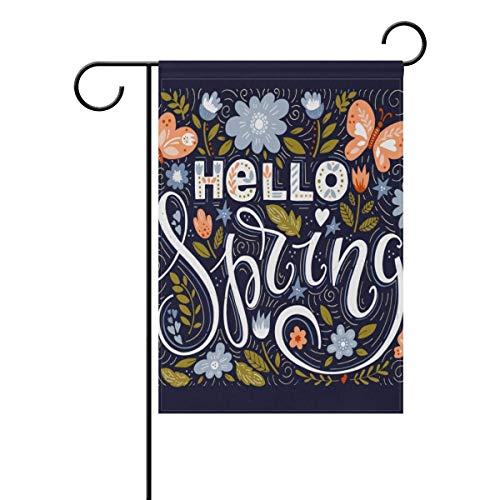 Hello Welcome Frühlingsblumen, Garten, Hof, doppelseitig, 31,8 x 45,7 cm, vertikal, klein, für Zuhause, Outdoor, Garten, Dekoration, einfach zu installieren