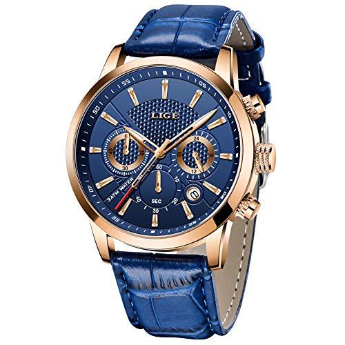 LIGE Relojes Hombre Analógico Cuarzo 3bar Impermeable Marrón Pulsera de Cuero Deporte Business Elegante Regalo Casual Relojes de Pulsera