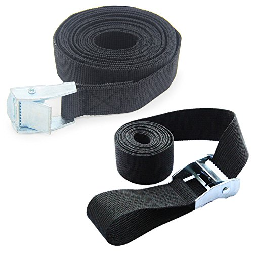 Holly Trip Pack of 2 Lashing Straps with Buckle Good for Roof-top Tie Down with Kayaks, Canoes, Carriers and Other Roof Mounted Luggage Cargo(3.2' x 1')