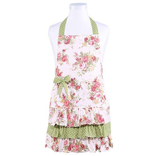 NEOVIVA Tablier pour enfants avec poche pour filles habillées, adorable tablier de jardin en coton pour cuisine, pâtisserie et barbecue, style Doris, motif floral quartz rose