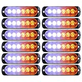 Led Emergency Strobe Lights Bar for Trucks, 12PCS Truck Surface Mount Emergency Hazard Warning Strobe Light , Emergency Beacon Hazard Warning Lights for Vehicles, Amber and White 6 Led Strobe Lights