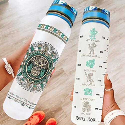 Jaguar Warrior botella de agua potable 32 oz botella de agua motivacional con marcador libre de BPA, ecológico Tritan Co-poliéster plástico para gimnasio entrenamiento interior blanco 1000ml