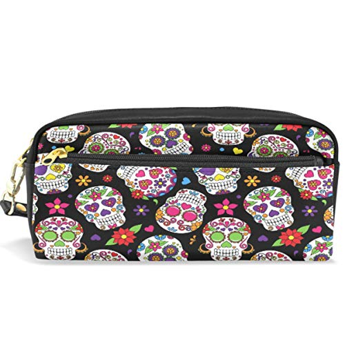 Vdsrup Sugar Skull Pencil Case Pen Bag Vintage Daisy Flower Cosmetic Makeup Bag Zipper Pen Pouch Holder for Office Travel,Multifunctional Storage Pouch Holder Box Organizer