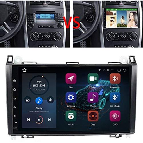 "NBVNBV 9"" 2 DIN Android 10 Touch Screen Autoradio Navigatore GPS per Auto Sistema Multimediale Misura per Mercedes B-Enz B200 A B Class W169 W245 Viano Vito Lettore Video Audio,2g 16g IPS"