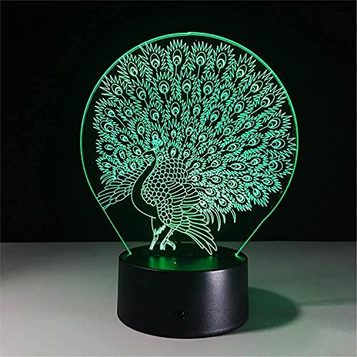 El nuevo Luz de noche Patrón de pavo real 3D Visual Noche Lámpara Toque Interruptor táctil para la decoración de la sala de estudio 7 colores Lámpara de noche Lámpara de noche Niños Regalo de cumpleañ