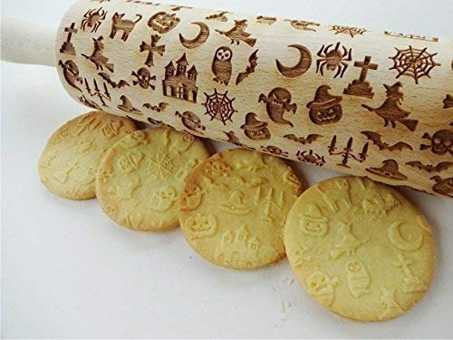 HALLOWEEN ROLLING PIN LASER ENGRAVED DOUGH ROLLER for EMBOSSED HALLOWEEN COOKIES WITCH PUMKIN MOON SPIDER