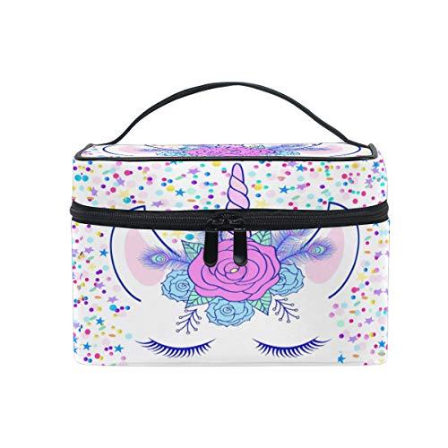 ZOEO Makeup Train Case Cream Unicorn Head Cute Cat Eye Star Korean Carrying Portable