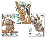 Knuffiges Wandbild 3er Set aus Koala Faultier und Äffchen,