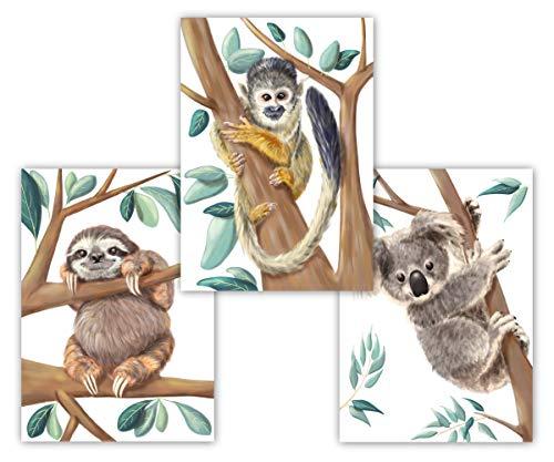 Knuffiges Wandbild 3er Set aus Koala Faultier und Äffchen, Deko für Kinderzimmer, Babyzimmer, Mädchen & Junge, Kinderposter, Babyposter, DIN A4 ohne Bilderrahmen, Tierbilder (weiß)