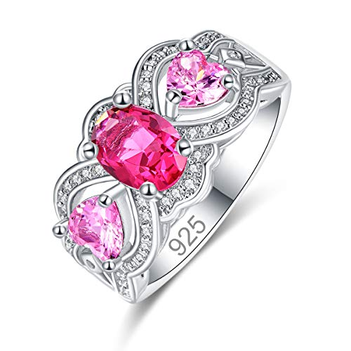 Emsione 925 Sterling Silver Plated Created Ruby Spinel CZ Oval Cut with Heart Stones Side Anniversary Wedding Engagement Ring Band Size 8 Color Red