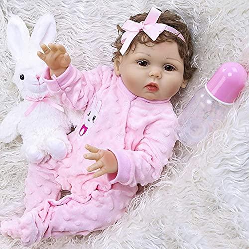 Boneca Renascida Solicone de Corpo Inteiro 47CM Realistic Todderl Menina Cabelo Encaracolado Enraizado à Mão Brinquedo de Banho para Boneca Recém-nascida realista