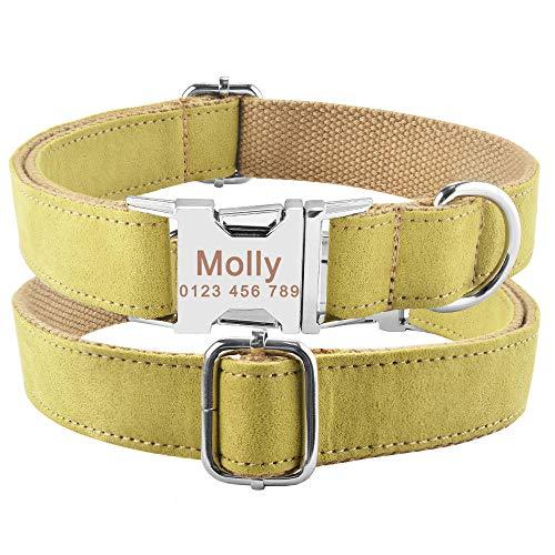Nylon Plaid Boy Girl Unisex Collar de Perros Pequeño Grande Collar de Perro Personalizado Producto Collares de Perro CustomEngraved Name ID Tag-F_XS